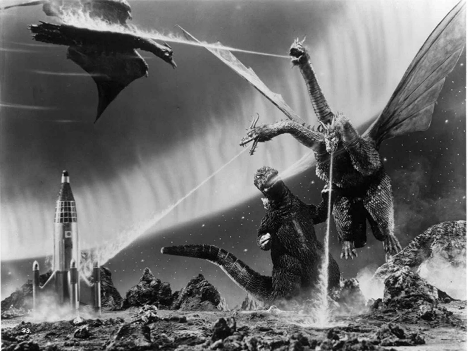black and white science fiction movie scene
