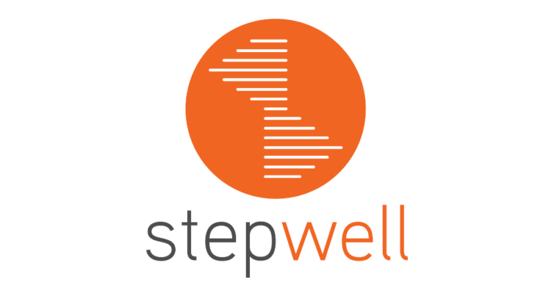 "the stepwell logo representing a spiral staircase, inside an orange circle captioned ""Stepwell"""